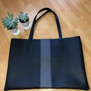 Vince Camuto Vegan Leather Tote Bag Black Gray